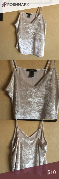 Forever 21 Velvet Cami Top. Size Small Forever 21 Cream/Tan Top. Shirt looks tan in dimmer light. Worn ONCE. Size small. Looks cute with black bottoms! Perf for Concerts Forever 21 Tops