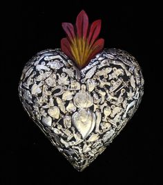 Black Wood Heart covered in Milagros Miracle Ex Voto Folk Art Mexico Love Token