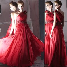 Couture Red One Shoulder Masquerade Ball Gown Wedding Party Evening Dresses SKU-122406