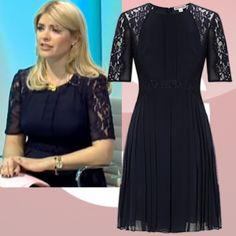 Where did Holly Willoughby get her navy lace dress from on This Morning 18/03/14? - Style on Screen