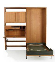 RY 100 houten muur eenheid met bed en bureau ontworpen door Hans J. Wegner.