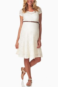 Ivory-Lace-Belted-Maternity-Dress #maternityfashion #maternitywardrobe #wardrobeessentials