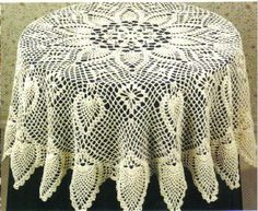 Love this traditional pineapple pattern in crochet for tablecloth.  http://www.momsloveofcrochet.com/RoundPineappleTablecloth.html