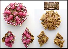 Vintage Costume Jewelry Miriam Haskell Pin and Clip Earrings Set