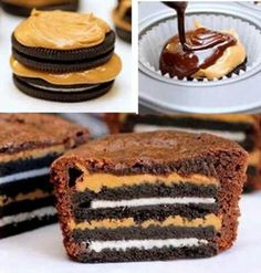 Oreo cookies, peanut butter & brownie mix -Ingredients: Oreos, Peanut Butter, Box of Brownie Mix -Preheat oven to 350 degrees Fahrenheit -Take two oreos and stack them with peanut butter (A layer in the middle and on top). -Place the stack in a cupcake liner. -Place liners in a muffin tin. -Make brownie mix according to box -Pour brownie mix over cookie stack -Bake for 20 minutes or until cooked -Pull out of the oven and let cool