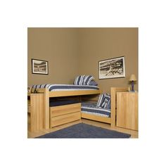 Graduate Series Extra Long Junior Crew Twin L-Shaped Bunk Bed with Built-In Ladder