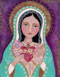 The Immaculate heart of Mary , Heart of Mercy, El corazón Inmaculado de María - Giclee print, Mixed Media, Folk Art, Wall Decore by Evona by Evonagallery on Etsy https://www.etsy.com/listing/249266348/the-immaculate-heart-of-mary-heart-of