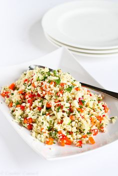 Grated Cauliflower Salad with Ginger Lime Dressing...This vegan salad pops with flavor! 100 calories and 3 Weight Watcher PP   cookincanuc.com #recipe Raw Cauliflower Salad, Cauliflower Recipes, Giada Recipes, Raw Food Recipes, Salad Recipes, Ww Recipes, Vegetarian Recipes, Healthy Recipes, Cooking Recipes