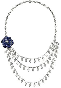 #Piaget Rose #necklace in 18K white gold, set with brilliant-cut #sapphires and brilliant-cut #diamonds. Via Piaget.
