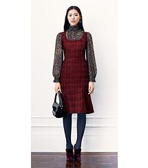 Bell-sleeve silk georgette blouse with tweed square neck shift dress