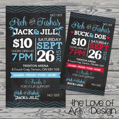 Printed Raffle Buck And Doe Tickets Jack By TheLoveOfArtNDesign Stag