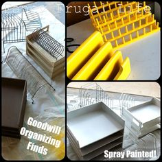 Find office organizers at Goodwill and spray paint to match