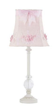 Kids S White Table Lamp Gl Pink Shade Nursery Lighting Bedroom Fixture