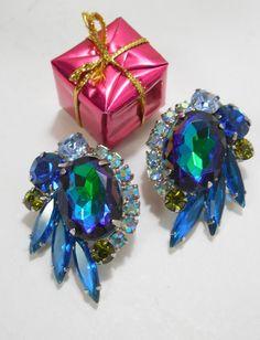 1960s Rhinestone Clip Earrings Aqua Blue/Green by Beadgarden55