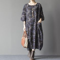 women Cotton and linen oversized loose dress Comfortable by MaLieb