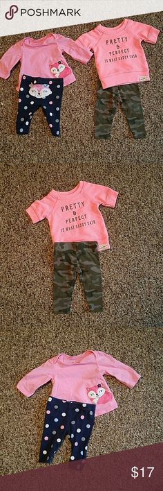 Carters 2 outfit bundle 2 super cute carters outfits. All size newborn and in excellent condition. Includes 2 carters shirts and 2 carters pants. Matching Sets