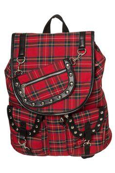 Banned Apparel  Yamy  Red Tartan Punk Rock Rockabilly Rucksack Backpack UNISEX    eBay