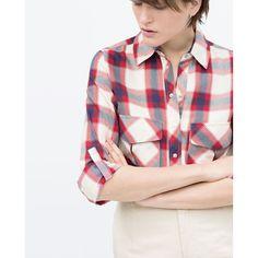 Zara Plaid Shirt (€16) found on Polyvore featuring women's fashion, tops, tartan top, tartan shirt, white plaid shirt, shirt top and zara shirts