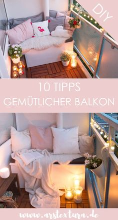 10 DIY-Tipps für einen super gemütlichen Balkon 10 tips for a cozy balcony – with these tricks, a small balcony is much nicer – balcony ideas with little space Living Room Decor, Bedroom Decor, Diy Blog, Cute Home Decor, Other Rooms, Designer Wallpaper, Decoration, Cozy, Beautiful