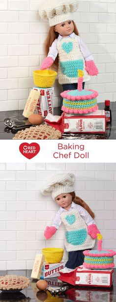 """Baking Chef Doll Free Crochet Pattern in Red Heart Yarns -- Crochet a wonderful outfit for your 18"""" doll to wear while baking a colorful cake and cherry pie. This fun set includes apron, hat, oven mitts, mixing bowl, cake and pie. This is perfect for imaginary play and young kitchen helpers!"""