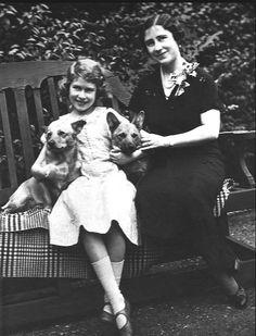 Young Queen Elizabeth II with Corgis