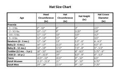 Complete crochet hat size chart.  Visit http://www.fiberandhook.com/hat-size-chart.html for a larger version of this chart.
