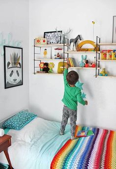 Ideas for Kids Bedroom Elegant Colourful Boys Room Inspiration Kids Room Ideas Kids Room Girls Bedroom, Bedroom Decor, Bedroom Ideas, Childs Bedroom, Kid Bedrooms, Nursery Decor, Kids Room Shelves, Book Shelves, Wall Shelves