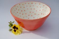 Red and White Bowl Pottery Bowl made in UK Red Spotty Fruit Bowl Colourful Ceramic Bowl on Etsy, $23.39