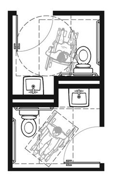 "Plan-2C Pair: 2010 Standards with In-Swinging Doors  Two 7'-2"" x 6'-6"" Rooms - 82.00 Square Feet Total  This plan shows a men's/women's room configuration using Plan 2C."