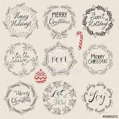 Christmas wreath set for logo design. Hand drawing vector illust