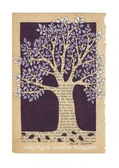 Purple tree  A4 size art print   mixed media por carambatack