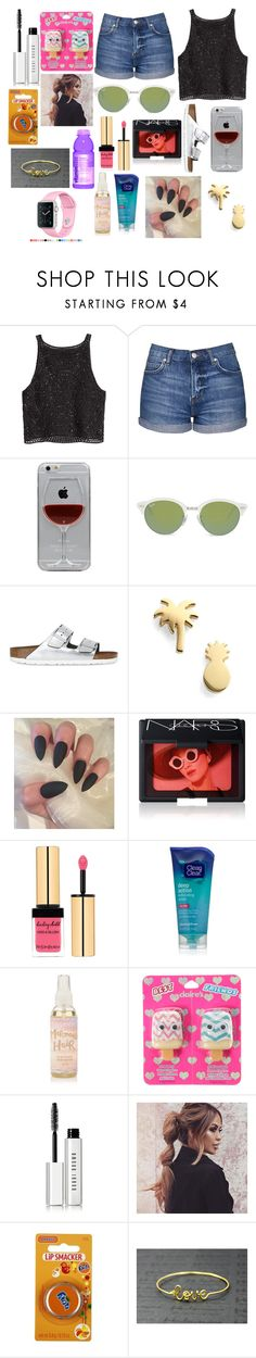"""Untitled #2823"" by marta-moreno-1 ❤ liked on Polyvore featuring H&M, Topshop, Reyes, Ray-Ban, Birkenstock, Seoul Little, NARS Cosmetics, Yves Saint Laurent, Clean & Clear and Bobbi Brown Cosmetics"