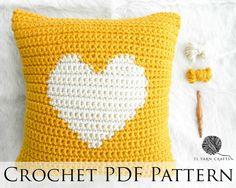 One Heart Pillow Crochet Pattern // Intarsia Crochet Heart