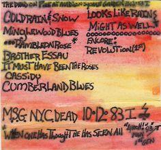 My original Grateful Dead artwork from Madison Square Garden 10-12-1983 (set one).