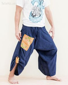 64bd49cc3bdc7 baggy low crotch tobi pants hand embroidery mountain tribal pocket textured  cotton wide leg airy loose