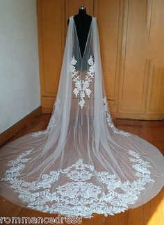 Wedding trend 2018 - capes and cloaks Ivory Applique Detachable Capes Princess Long Removable Wedding Pageant Cloak Formal Wedding, Wedding Attire, Wedding Cape Veil, Dream Wedding, Long Wedding Veils, Tulle Wedding, Wedding Jacket, Wedding White, Elegant Wedding