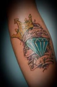 Diamond crown and quote tattoo