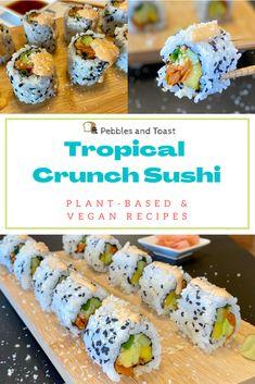 Vegetarian Sushi Recipes, Sushi Roll Recipes, Healthy Sushi, Vegan Sushi, Mango Recipes, Vegan Recipes, Avocado Rolls Sushi, Best Sushi Rolls, Veggie Sushi Rolls