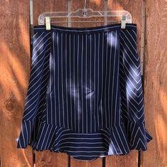 J. Crew Skirts | J Crew Ruffle Hem Navy White Stripe Skirt Sz | Poshmark Stripe Skirt, Blossoms, Navy And White, Midi Skirt, J Crew, Size 10, Stripes, Skirts, Outfits