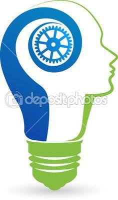 lâmpada com cabeça logo — Ilustração de Stock #41209185