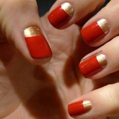 Ideas Red French Manicure Tips Half Moons Gold Gel Nails, Red And Gold Nails, Gold Nail Polish, Red Nails, Hair And Nails, Red Gold, Funky Nails, Love Nails, How To Do Nails