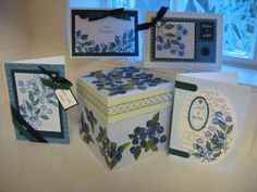 TLC103 Blueberry Gift Set Stamps:Best Blossoms, FS bg, Minimates sentiments Paper:Non SU lt blue, Night of Navy, Forest Foliage Ink:Same as paper, Black Accessories:gel pens, ribbon, WW punch, slit punch,