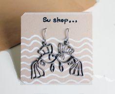 Handmade minimal jewelry  silver  fish earrings by SuStudio, $30.00
