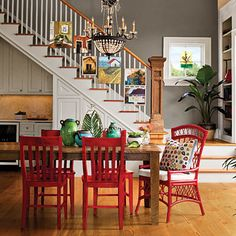 Color Your Furniture These Red Chairs Are Finished With A Semi Opaque Stain That