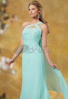une épaule rez-de-longueur mousseline de soie Charmeuse Robe Demoiselle D'honneur