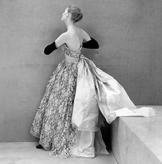 1951 Model in evening gown by Balenciaga, photo by Henry Clarke,