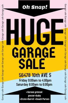 Garage sale poster flyer social media design template.