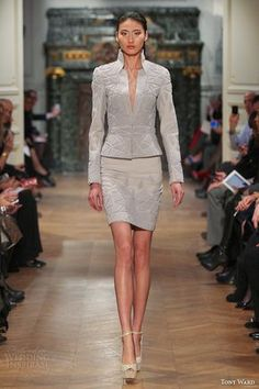 Tony Ward Spring 2014 Couture Collection | Wedding Inspirasi.        LOVE THIS SUIT!!!!!  Look at the material and texture!!!!