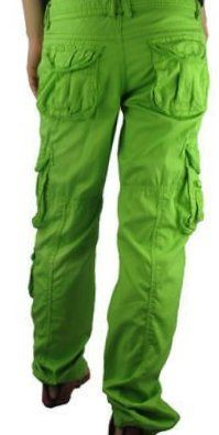 Fashionable colored Cotton Cargo Pants For women