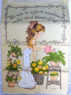 Sarah Kay Vintage LInen Kitchen Tea Towel by QueeniesCollectibles, $14.99